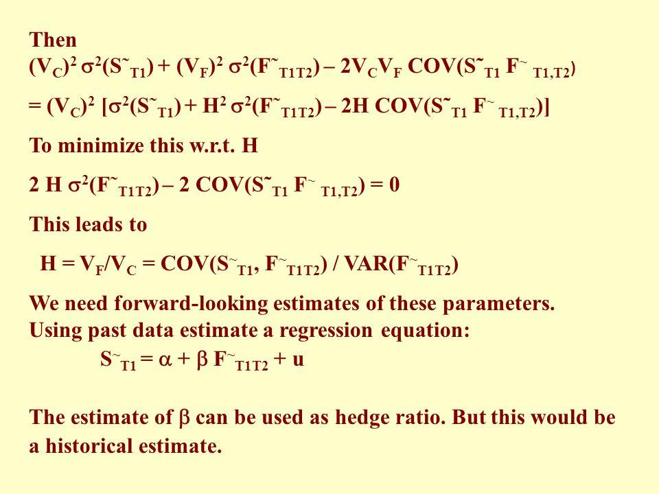 Then (VC)2 2(S˜T1) + (VF)2 2(F˜T1T2) – 2VCVF COV(S˜T1 F~ T1,T2) = (VC)2 [2(S˜T1) + H2 2(F˜T1T2) – 2H COV(S˜T1 F~ T1,T2)]